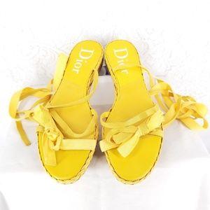 CHRISTIAN DIOR Womens Flats Yellow 38.5 Gladiator